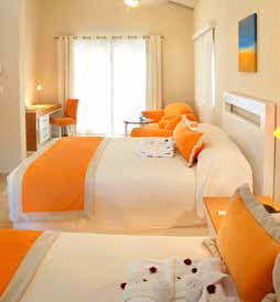 Bedroom with orange accents